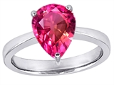 Star K™ Large 11x8 Pear Shape Solitaire Ring with Created Pink Sapphire style: 303808