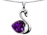 Original Star K™ Love Swan Pendant With Heart Shape Genuine Amethyst