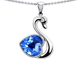 Original Star K 1inch Love Swan Pendant With Genuine Heart Shape Blue Topaz