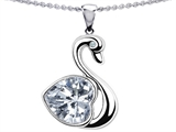 Original Star K 1inch Love Swan Pendant With Genuine Heart Shape White Topaz