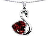 Original Star K™ Large Love Swan Pendant With 8mm Genuine Heart Shape Garnet