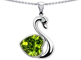 Star K™ Large Love Swan Pendant Necklace With 8mm Heart Shape Simulated Peridot and Cubic Zirconia style: 303834