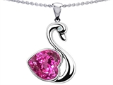 Original Star K Large Love Swan Pendant With 8mm Heart Shape Created Pink Sapphire