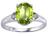 Tommaso Design Oval 9x7mm Genuine Peridot and Diamond Ring