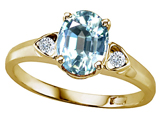 Tommaso Design™ Genuine Aquamarine and Diamond Ring style: 303842