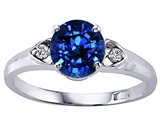 Tommaso Design™ Round 7mm Created Sapphire and Diamond Engagement Ring