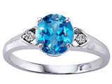 Tommaso Design™ Round Genuine Blue Topaz and Diamond Engagement Ring style: 303845