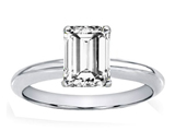 Tommaso Design Genuine White Topaz 8x6mm Emerald Cut Engagement Ring