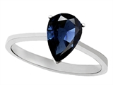 Tommaso Design Genuine Sapphire Pear Shape 8x6mm Solitaire Engagement Ring