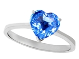 Tommaso Design Genuine Blue Topaz Heart Shape 8mm Solitaire Engagement Ring