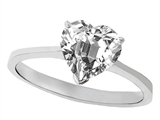 Tommaso Design™ Genuine White Topaz Heart Shape 8mm Solitaire Engagement Ring