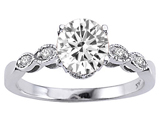 Tommaso Design™ 14k Round 7mm Genuine White Topaz and Diamonds Solitaire Engagement Ring