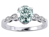 Tommaso Design™ Genuine Aquamarine Round 7mm and Diamonds Solitaire Engagement Ring