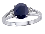 Tommaso Design™ Genuine Black Sapphire Round 7mm and Diamond Ring
