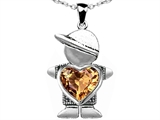 Original Star K™ Boy Holding 8mm Mother Heart Pendant with Simulated Imperial Yellow Topaz
