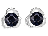 Original Star K Round 6mm Genuine Black Sapphire Flower Earring Studs