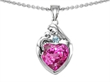Original Star K™ Loving Mother With Child Family Pendant With 8mm Heart Shape Created Pink Sapphire