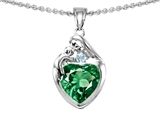 Original Star K™ Loving Mother With Child Family Pendant With Heart Shape 8mm Simulated Emerald