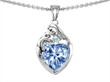 Original Star K™ Loving Mother With Child Family Pendant With Heart Shape 8mm Simulated Aquamarine