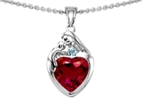 Original Star K™ Loving Mother With Child Family Pendant With 8mm Heart Shape Created Ruby