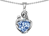 Original Star K™ Loving Mother With Child Hugging Pendant With 8mm Heart Shape Simulated Aquamarine