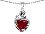 Original Star K™ Loving Mother With Child Hugging Pendant With 8mm Heart Shape Created Ruby