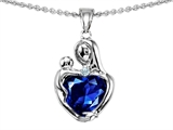 Original Star K™ Loving Mother With Child Hugging Pendant With 8mm Heart Shape Created Sapphire