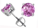 Tommaso Design™ Lab Created Round Pink Sapphire Screw Back Earring Studs