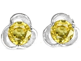 Original Star K Round 6mm Simulated Yellow Sapphire Flower Earring Studs