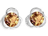Original Star K Round 6mm Simulated Imperial Yellow Topaz Flower Earring Studs