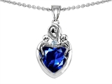 Original Star K™ Loving Mother Twin Children Pendant With 8mm Heart Shape Created Sapphire