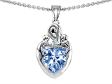 Original Star K™ Loving Mother Twin Children Pendant With 8mm Heart Simulated Aquamarine