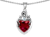 Original Star K™ Loving Mother Twin Children Pendant With 8mm Heart Created Ruby