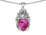 Original Star K™ Loving Mother And Twins Family Pendant With 8mm Heart Shape Created Pink Sapphire