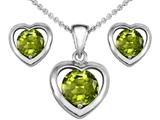 Original Star K™ Genuine Peridot Heart Pendant with matching earrings style: 303950