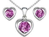 Original Star K™ Created Pink Sapphire Heart Earrings with Free Box Set matching Pendant