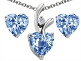 Original Star K Simulated Aquamarine Heart Shape Pendant with Free Box Set matching earrings
