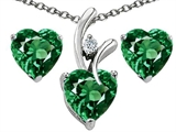 Original Star K Simulated Emerald Heart Shape Pendant with Free Box Set matching earrings