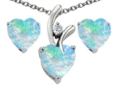 Original Star K Created Opal Heart Shape Pendant with Free Box Set matching earrings