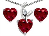Original Star K Created Ruby Heart Shape Pendant with Free Box Set matching earrings