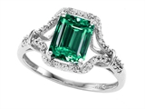 Tommaso Design 8x6mm Emerald Cut Simulated Emerald and Genuine Diamond Ring