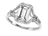 Tommaso Design 8x6mm Emerald Cut Genuine White Topaz and Diamond Ring