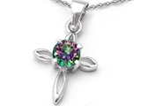 Original Star K Round Genuine Mystic Topaz Cross Pendant