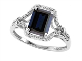 Tommaso Design™ 8x6mm Emerald Cut Genuine Black Sapphire and Diamond Ring