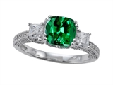 Zoe R™ Engagement Ring With 14 Genuine Diamonds And 7mm Cushion Cut Simulated Emerald By Zoe