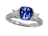 Zoe R Engagement Ring With 14 Genuine Diamonds And 7mm Cushion Cut Created Sapphire By Z