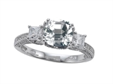 Zoe R Engagement Ring With 14 Genuine Diamonds And 7mm Cushion Cut Genuine White Topaz By Zo