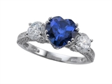 Zoe R™ Engagement Ring With 14 Genuine Diamonds And 8mm Heart Shape Created Sapphire