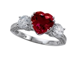 Zoe R Engagement Ring With 14 Genuine Diamonds And 8mm Heart Shape Created Ruby