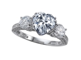 Zoe R Engagement Ring With 14 Genuine Diamonds And 8mm Heart Shape Genuine White Topaz